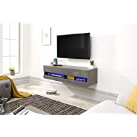 Galicia Wall Mounted Gloss TV Unit with LED - 120 & 180cm - Black, Grey or White#120Grey