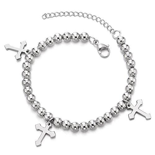 COOLSTEELANDBEYOND Damen Mädchen Perle Kette Armband Gliederarmband Edelstahlarmband mit Kreuz Charm, Verstellbare