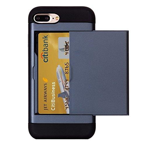 BING Für iPhone 7 Plus Slide Style TPU + PC Kombi-Gehäuse mit Kartensteckplatz BING ( Color : Gold ) Dark Blue