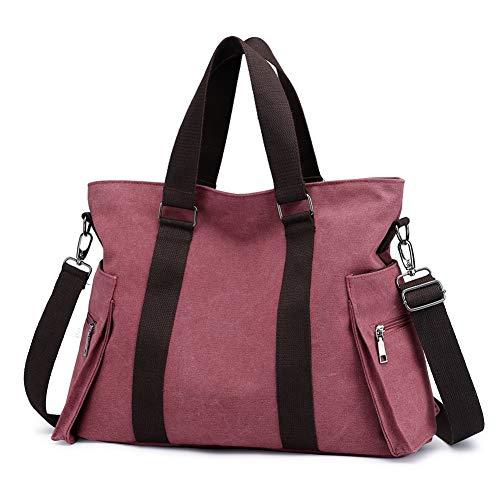 Valleycomfy Damen Taschen Groß Segeltuch Handtaschen Umhängetasche Bowlingtaschen Henkeltaschen Shopper Schultasche (Rot)
