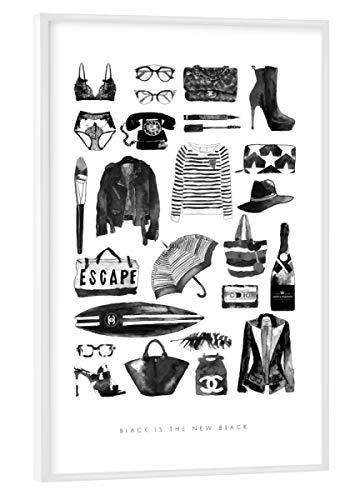 artboxONE Poster mit weißem Kunststoffrahmen 30x20 cm Black is The New Black von Mercedes Lopez Charro