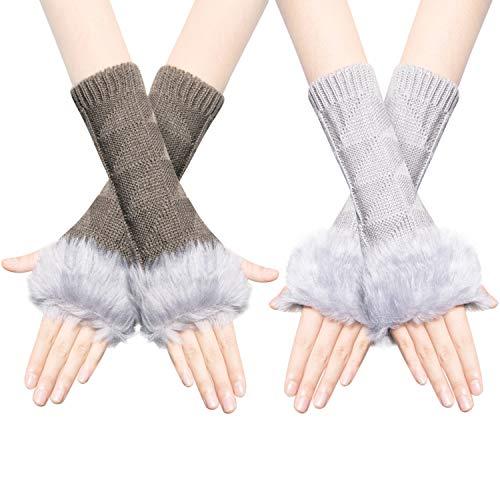 Chalier 2 Paare Damen Fingerlose Handschuhe, Strick Pulswärmer Armstulpen Warme Damenhandschuhe Winterhandschuhe