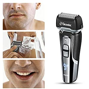 Electric Razor Wet and Dry Electric Shaver for Men Rechargeable Cordless 3D Flexible Electric Foil Razor Shaver with Pop Up Trimmer,LCD Display,Travel Lock,Waterproof