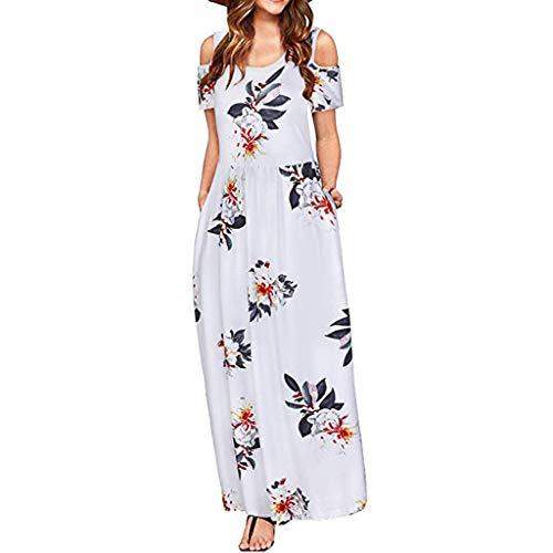 Floweworld Damen Sommerkleider kalte Schulter Blumendruck Maxi Kleider elegant Casual Strand langes Kleid mit Tasche Alessi Cocktail