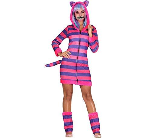 Kostüm Cheshire Damen Katze - Guirca Grinse-Katze Kostüm gestreift für Damen L (42-44)