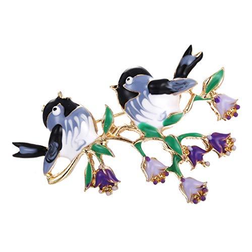 BfmyxgsDamenmode Zwei Vogel Brosche Pins Exquisite Mädchen Süße Accessoires -