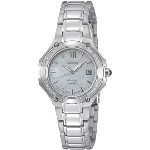 Seiko Ladies Quartz Analogue Watch SXDA81P1 with Stainless Steel Coutura Bracelet and 20 Diamonds White MOP