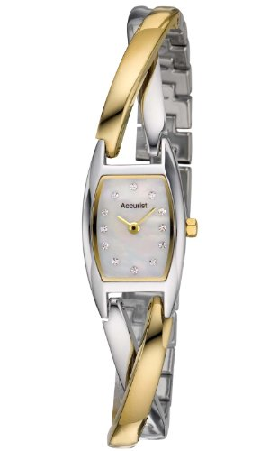 Accurist Women's Quartz Watch with Mother of Pearl Dial Analogue Display and Multi-Colour Swarovski Crystals Bracelet Lb1435P