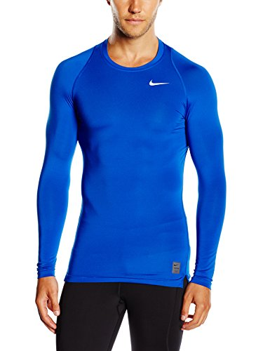 Nike Cool Comp Ls,  Maglietta di compressione a maniche lunghe Uomo, Blu (Game Royal/deep Royal Blue/white), S