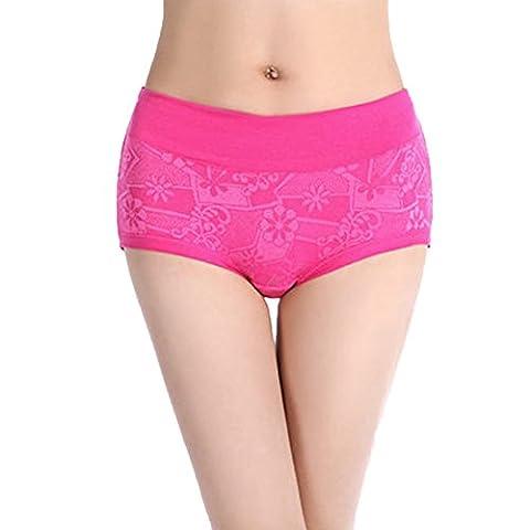 Daiendi Women's Underwear Stratch Slim Midi Waist Floral Pattern Cotton Knickers Rose M