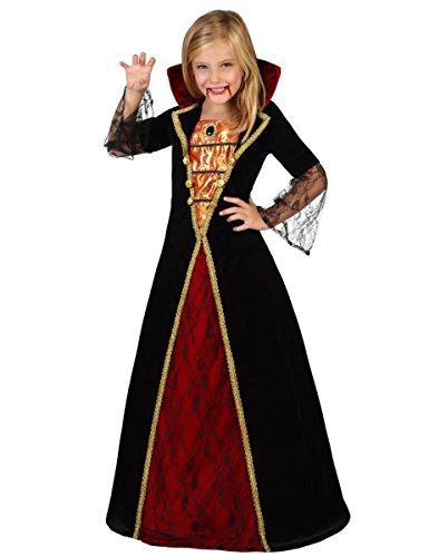 Kind Prinzessin Kostüm Vampir (Vampir-Prinzessin Halloween-Kinderkostüm schwarz-rot-gold 116/128 (5-6)