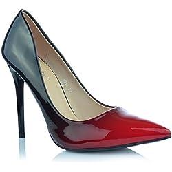 Damen High Heels Stiletto Pumps Ombre Heels Abendschuhe Lack-Optik Glanz EUR 37 Rot