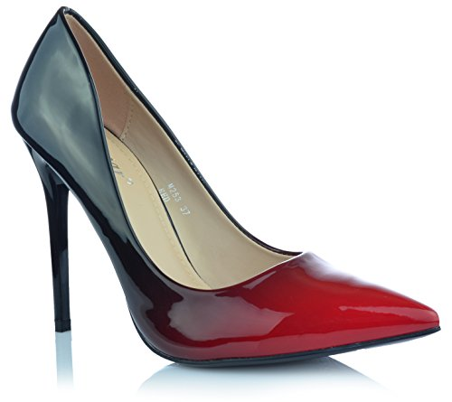 Damen High Heels Stiletto Pumps Ombre Heels Abendschuhe Lack-Optik Glanz EUR 38 Rot