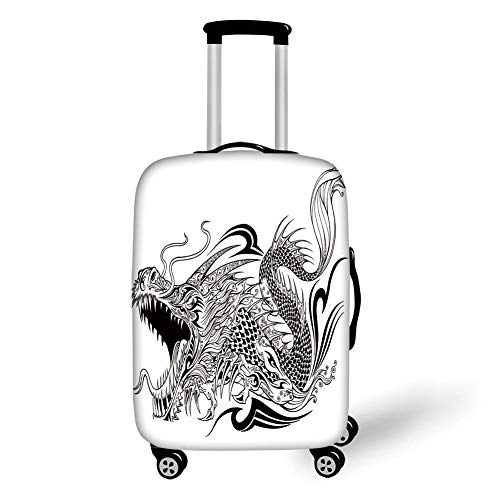 Travel Luggage Cover Suitcase Protector,Dragon,Tattoo Style Traditional Asian Winged Creature with Ornamental Ethnic Artsy Pattern Decorative,Black White,for Travel S -