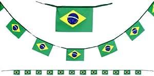 Girlande Brasilien 5m Fahnenkette Flaggenkette Fahne Flagge Party Fußball Nationalmannschaft Brasil WM