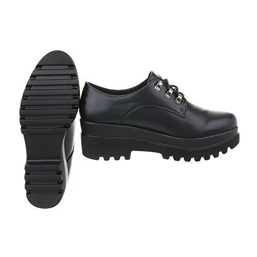 Ital-Design Chaussures Femme Mocassins Plat Chaussures a Laniere Noir