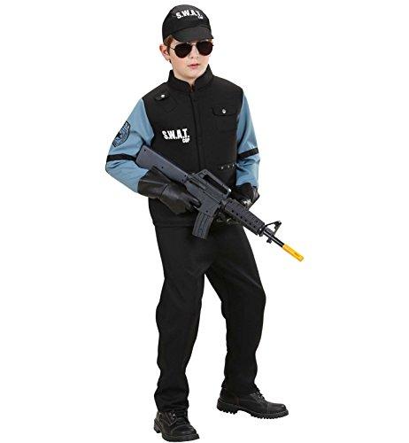 erkostüm Swat, schwarz,Größe: 128 (Halloween-kostüm Fbi-agent)