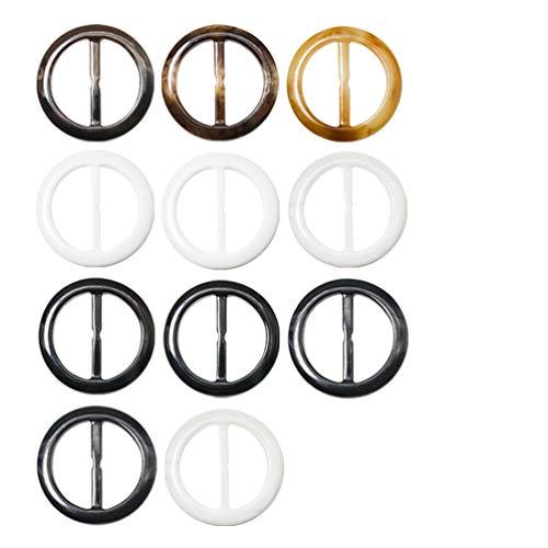11 Stück Hochwertiger Kunststoff Schalring Brosche Oval, Schal-ring Tuch-ring Runder T-Shirt-Clip Schal Clips Ring für Frauen - Schöner Schmuck zum Halstuch(2 Zoll, 7 Verschiedene Muster) Muster-clip