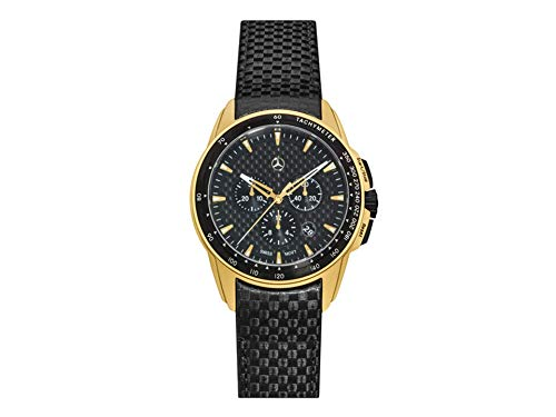 Mercedes-Benz Chronographe Homme Motorsport Gold Edition Or Jaune Noir Acier Inoxydable Carbone Cuir Carbone PVD