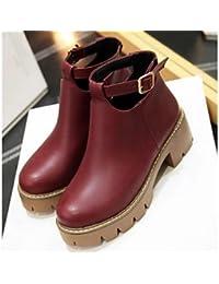 La mujer botas de combate Botas de cuero de nubuck PU Otoño Invierno Casual botas de combate Ruby Gris negro 4A-4 3/4 pulg,Ruby,US5.5 / UE36 / UK3.5 / CN35
