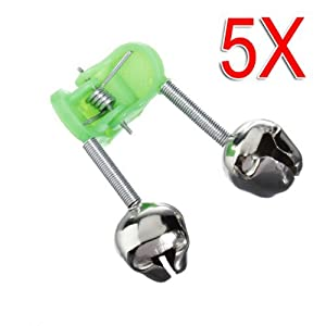 Well-Goal 5 PCS/Pack Tackle Rod Clamp Sea Fishing Tip Bite Lure Alarm Twin Bell Ring Clip