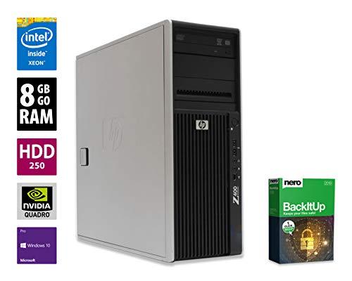 Ordinateur de Bureau HP Workstation Z400 - Xeon W3550 @ 3,07 GHz - Nvidia Quadro NVS 295-8 Go RAM - 250 Go HDD - Graveur DVD - Win 10 Pro (Reconditionné Certifié)
