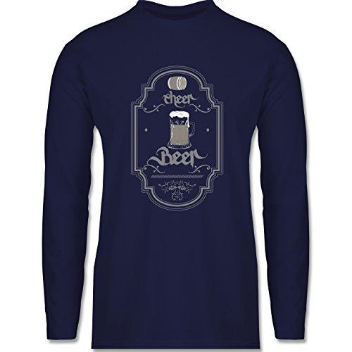 Shirtracer Statement Shirts - Cheer Beer - Herren Langarmshirt Navy Blau