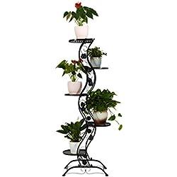 lili Europäischer Regal-Schmiedeeisen-kreativer Boden-Innenmehrschichtblumen-Balkon-Balkon im Freien fleischig (Farbe : SCHWARZ)