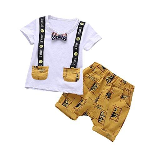 Babybekleidung,Resplend Kleinkind Kinder Baby Jungen Outfits Brief Print Smile Tops + Hosen Outfits Kleidung Set Mode Lässig Bowknot Dekoration T-Shirt Kurzarm 2 Stück Bekleidungssets (Weiß, 18M)