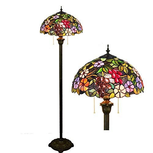Traube Eisen (XYQS Tiffany Style Stehleuchte Glasmalerei Eisen Licht Pol Traube Blume Lampenschirm Stehleuchte 64 Zoll Hoch E27 für Schlafzimmer Wohnzimmer Leselampe Tisch Set (watt : 220V))