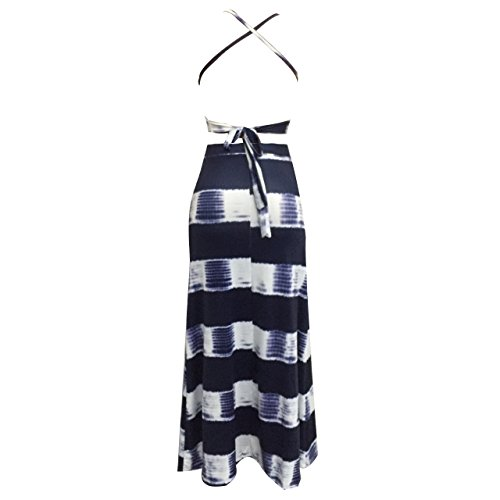 Holify Damen Sexy Halter Backless Split Long Pareos Kleid Maxi Rock Set 2 Stueck S-XL Blau