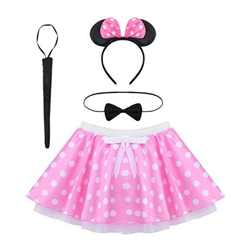 CHICTRY Kinder Mädchen Kleidung Set Maus Kleid Kostüm Tutu Rock mit Polka Dots, Haarreif, Fliege, Schwanz Outfits Kostüm Weihnachten Karneval Geburtstag Party Rosa 92-98/2-3 - Minnie Maus Kostüm Mit Tutu