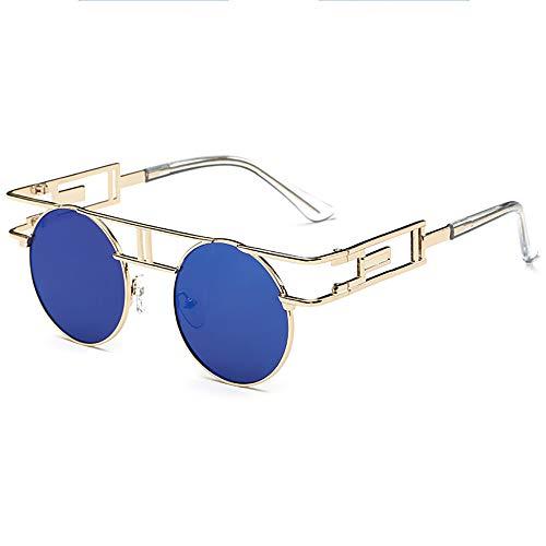 SHEEN KELLY Retro Steampunk sonnenbrille John Lennon männer frauen Metall rahmen runde brille marke designer spiegel linse Blau