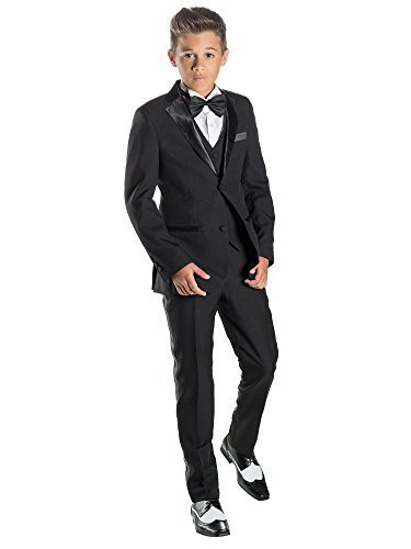 Paisley of London, Jungen Smoking, Kostüm schwarz für Jungen, Kostüm Slim, Kostüm, KTV, 12–18Monate–13Jahre für 9-Jährige