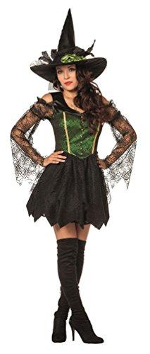 Sexy Hexe Kostüm Böse - Karneval-Klamotten Hexenkostüm Damen Luxus sexy Hexen-Kleid Kostüm Hexe Dame grün schwarz Damenkostüm Größe 34