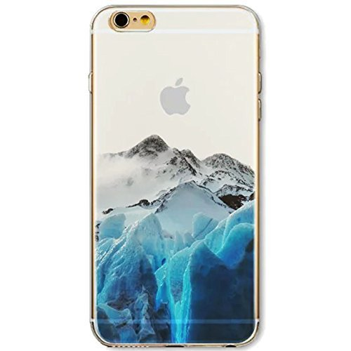Price comparison product image For iPhone 6 6S 4.7 inch Case,  Vandot Colorful Printing Perfect Fit Pattern Soft TPU Silicone Bumper+ Hard PC Back Cover Matte Transparent Exclusive Design Premium Protective Ultra Slim Case- Embossing Landscape Blue White Iceberg Snow