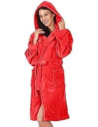 DecoKing Albornoz XS Corto Mujer Hombre Unisex Capucha Bata Microfibra Suave Agradable Ligero Fleece Rojo Robby