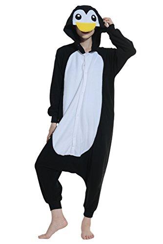 Pinguin Kostüm Jumpsuit Damen Tier Pyjamas Fasching Onesie Herren Karneval Cosplay (Pinguin Kind Glücklich Kostüme)