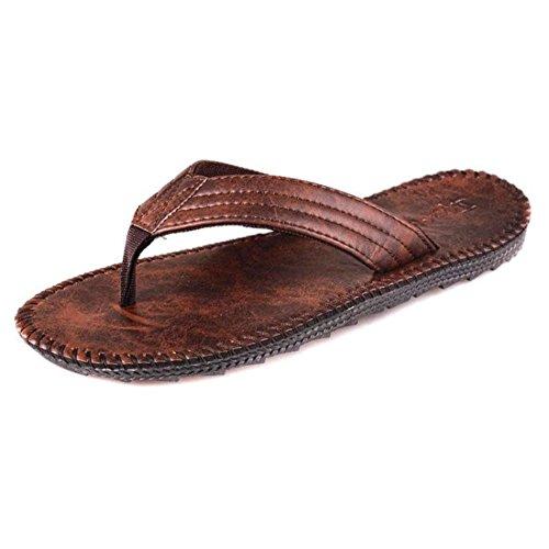 Men's Durable Leather Non Slip Flip Flops Slippers brown