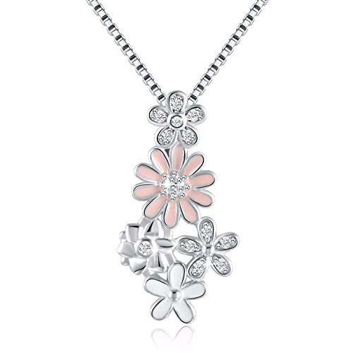 ANGEMIEL 925 Sterling Silver CZ Dazzling Daisy Flowers Vintage Pendant Necklace, Box Chain 18