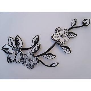 alles-meine.de GmbH Blumen 16 cm * 9,3 cm Bügelbild schwarz weiß Blüten Ranke Ranken Blume Blüte Blumenranke Aufnäher Applikation