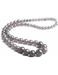 Collare perlas Joya piedra natural Ágata 6-14mm 46cm Mujer Gris Kay