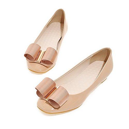 AgooLar Damen Quadratisch Zehe Niedriger Absatz Rein Ziehen Auf Pumps Schuhe Aprikosen Farbe