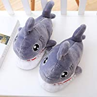 duanlidong Winter Cotton Trailer-Slippers Boys Girls Fashion Leisure Lovely Personality Plush Shark Soft Home Slippers