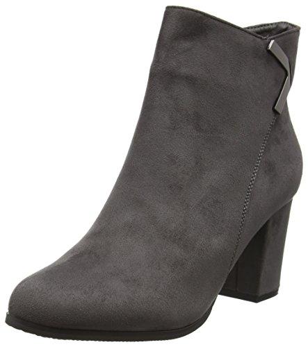 Boohoo Block Heel Ankle Boot, Bottes Classiques femme - Gris - Gris foncé, 37 EU (4 UK)