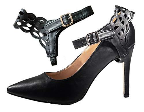 Cinturini ShooStraps Rimovibili per scarpe coi tacchi, scarpe basse, scarpe con zeppa (Nero Artistico)