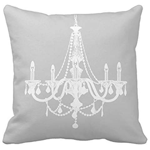 Chic White and Gray Chandelier Pillowcases