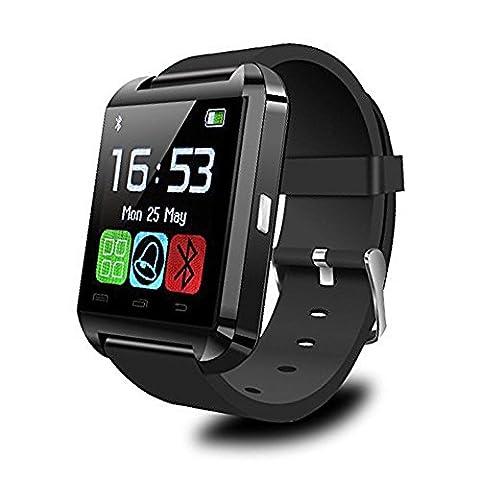 Padgene® Montre Connectée Montre Intelligente SmartWatch Bluetooth 3.0 Bracelet Connecté pour Android Smartphones Samsung HTC SONY HUAWEI WIKO (Noir)