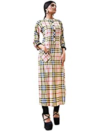 Rose Petals Fully Stitched Indo Western Reyon Check Kurti in Different Designer Cuts and Style with unique neck detailing (CHEp5005), check dress for women western, checks kurtis for women latest