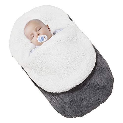 Beinou Baby Schlafsäcke Neugeborenes Gestrickt Wickeldecke Wickeln Swaddle Decke Samtvlies Einschlagdecke für 0-12 Monat Säuglinge Mädchen Jungen 68 cm x 38 cm (Dunkelgrau)